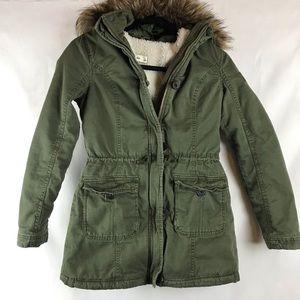 Abercrombie & Fitch Kids Khaki Green Coat Large